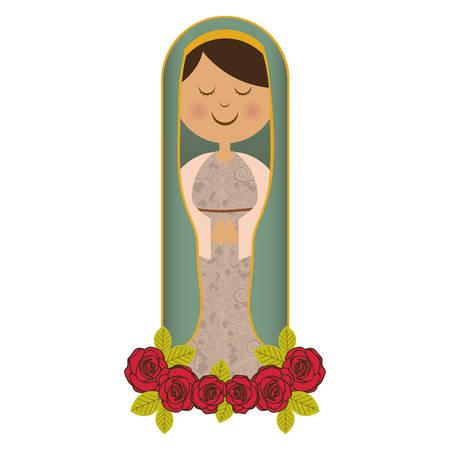 witte achtergrond van maagd met ornament van rozen vectorillustratie