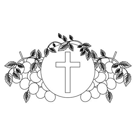 black silhouette with communion religious icons of grapes and christian cross vector illustration Illustration