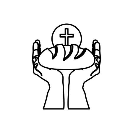 black silhouette of hands holding bread and sphere with cross symbol in background vector illustration
