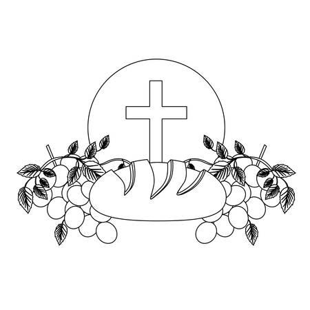 zwart silhouet met kerkgemeenschap religieuze iconen van brood en druiven en christelijke kruis vectorillustratie Stock Illustratie