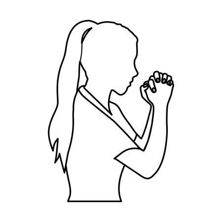 monochrome contour of half body woman praying vector illustration