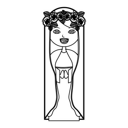 monochrome contour of beautiful virgin with crown of roses vector illustration Illustration