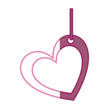 pink color silhouette double love heart figure hanging for decoration vector illustration Illustration