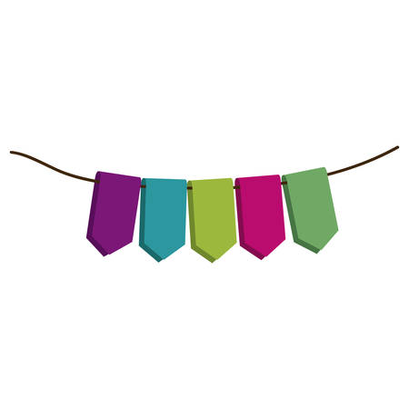 set of colored flags in a rope for decoration vector illustration