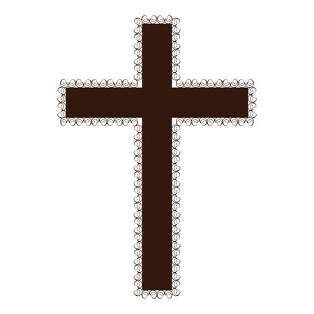 Silhouette Brown Color Wooden Cross With Swirl Decorative Frame ...