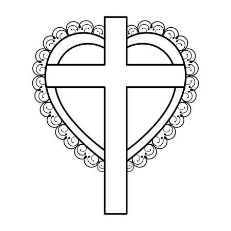 silhouet hart decoratieve frame met houten kruis vector illustratie