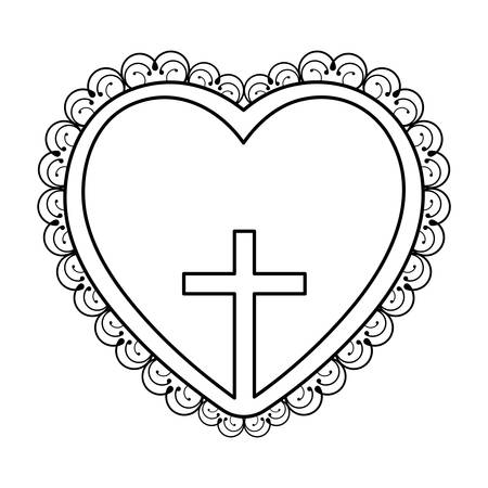 Silhouette Heart Decorative Frame With Small Wooden Cross Inside ...