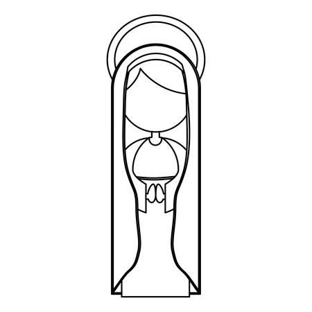 aureole: silhouette figure fasceless virgin maria cartoon with aureole design vector illustration