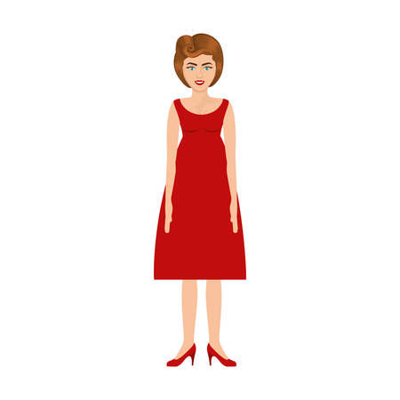 colorful silhouette of woman with red dress retro style vector illustration Illustration