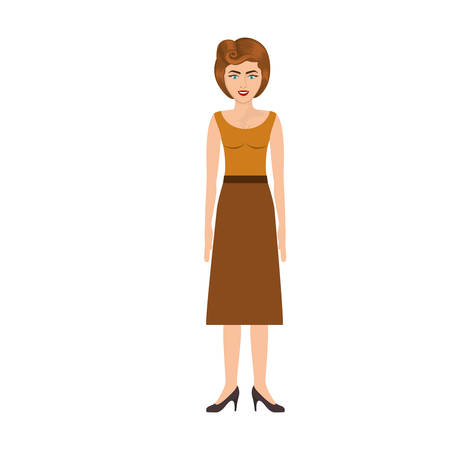 colorful silhouette of woman with blouse and long skirt retro style vector illustration Illustration