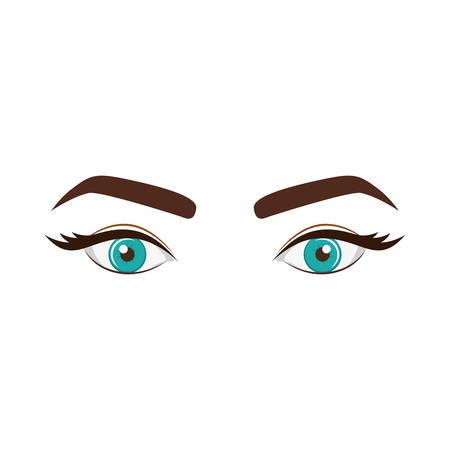 Regard de la femme avec des yeux bleus expressif vector illustration Banque d'images - 76194798