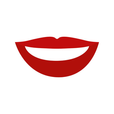 teeths: colorful silhouette of red lips with teeths vector illustration
