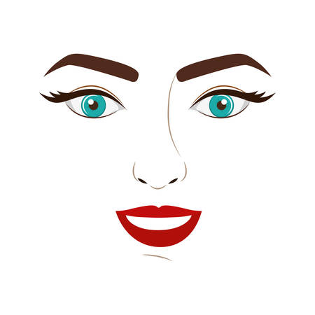 eyesclosed: woman face with open eyes and smiling vector illustration Illustration