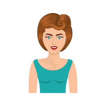 colorful realistic half body woman with blouse and eighties hairstyle vector illustration