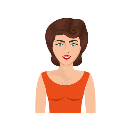 colorful realistic half body woman with orange blouse and pin up swirl hairstyle vector illustration Illustration