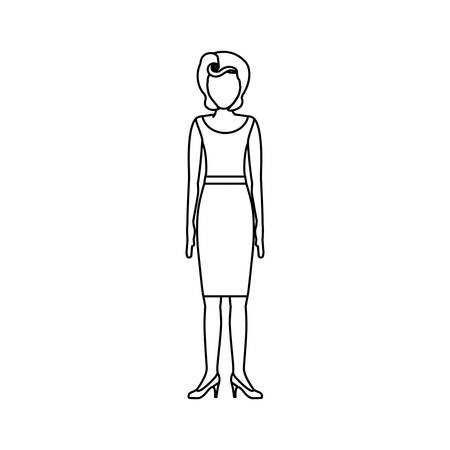 contour body faceless woman with blouse and skirt retro style vector illustration
