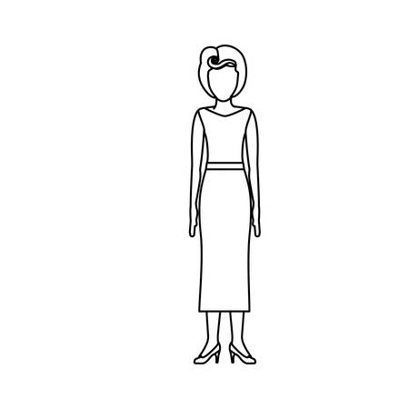 footwear: contour body faceless woman with blouse and long skirt retro style vector illustration Illustration