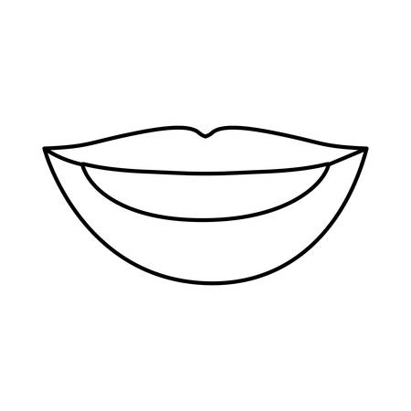 teeths: silhouette drawing of woman lips with teeths vector illustration