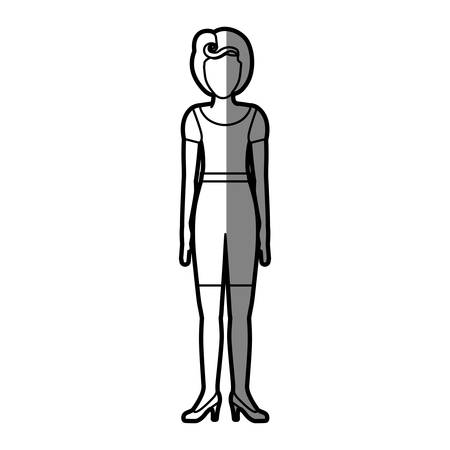 young woman legs up: silhouette shading body faceless woman with t-shirt and shorts retro style vector illustration Illustration