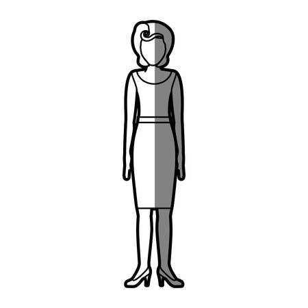 young woman legs up: silhouette shading body faceless woman with blouse and skirt retro style vector illustration