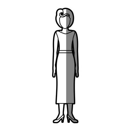 young woman legs up: silhouette shading body faceless woman with blouse and long skirt retro style vector illustration