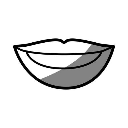 teeths: silhouette shading of of woman lips with teeths vector illustration
