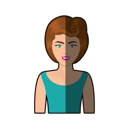 colorful shading realistic half body woman with blouse and eighties hairstyle vector illustration