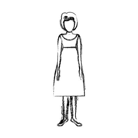 young woman legs up: blurred sketch contour body faceless woman with silhouette dress retro style vector illustration Illustration