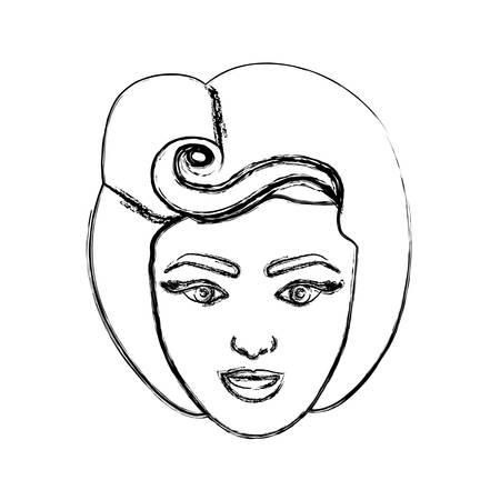 80 年代の顔女性の描画ぼやけたシルエット髪型ベクトル図