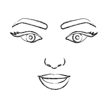 teeths: blurred silhouette drawing of woman face with open eyes and smiling vector illustration