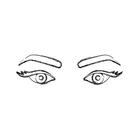 Silhouette floue, dessin du regard de la femme avec des yeux expressive vector illustration Banque d'images - 76195201