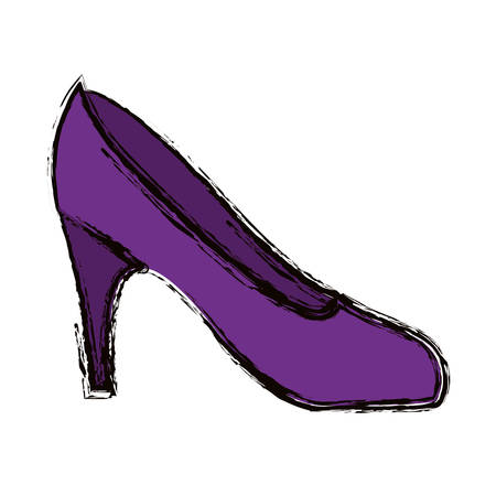 blurred colorful silhouette of high heel purple shoe vector illustration Illustration