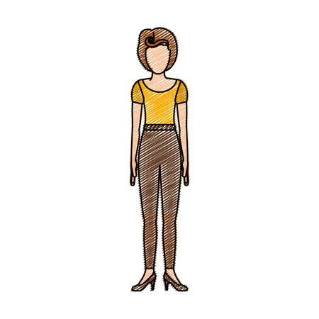 young woman legs up: color pencil drawing of woman with yellow t-shirt and pants retro style vector illustration