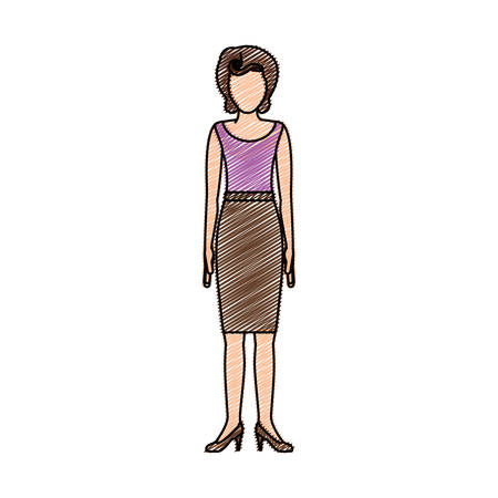 young woman legs up: color pencil drawing of woman with blouse and skirt retro style vector illustration Illustration