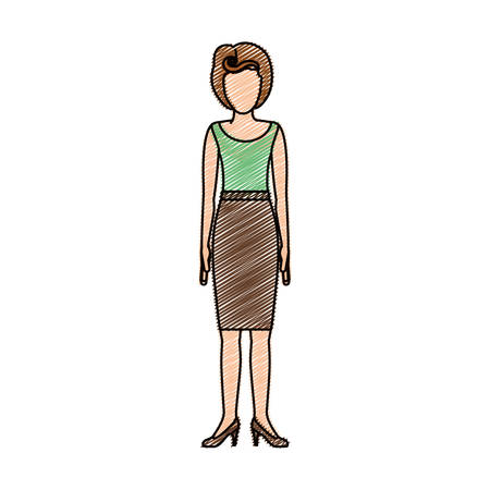footwear: color pencil drawing of woman with green light blouse and skirt retro style vector illustration