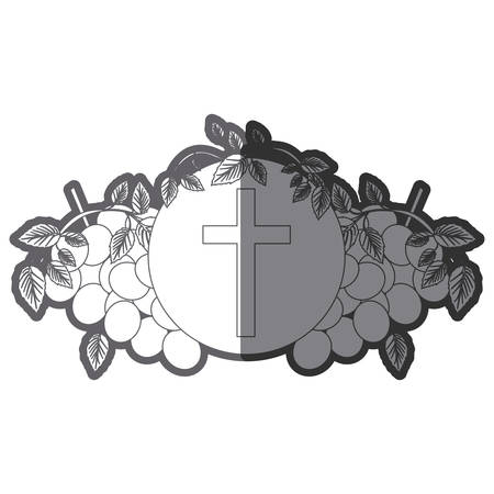 grayscale silhouette of communion religious icons of grapes and christian cross vector illustration Illustration