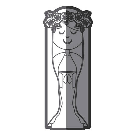 grayscale silhouette of virgin with crown of roses vector illustration