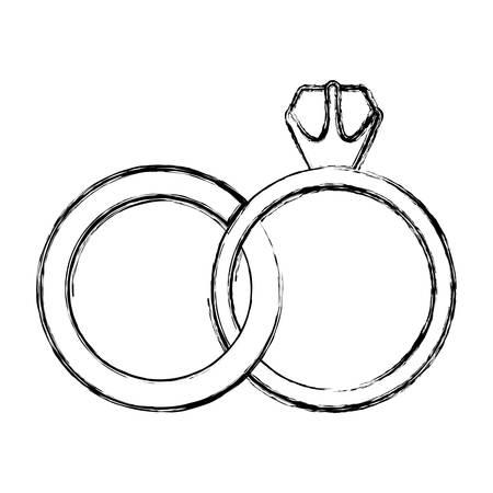 contorno monocromático boceto de ilustración de vector de anillos de boda