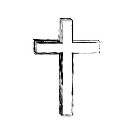 liturgy: monochrome sketch contour of wooden cross vector illustration Illustration