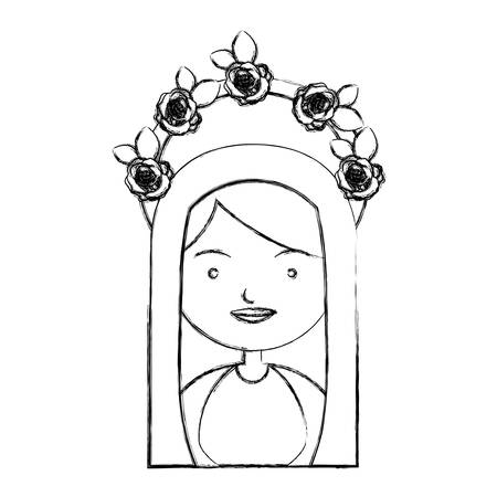 bible flower: monochrome sketch contour of half body beautiful virgin with crown of roses and mantle vector illustration