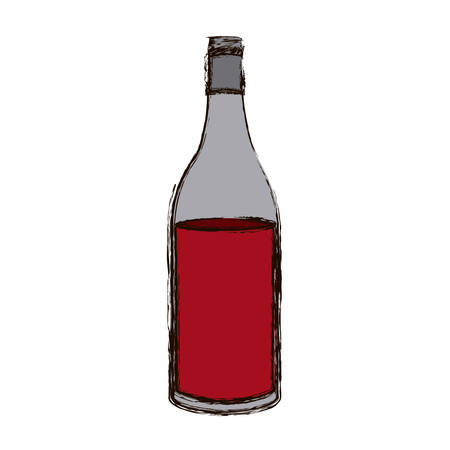 color blurred silhouette with bottle of red wine vector illustration Illustration