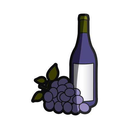 color silhouette with bottle of wine and bunch of grapes vector illustration