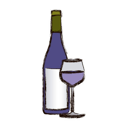 color blurred silhouette with bottle of wine and glass vector illustration Illustration