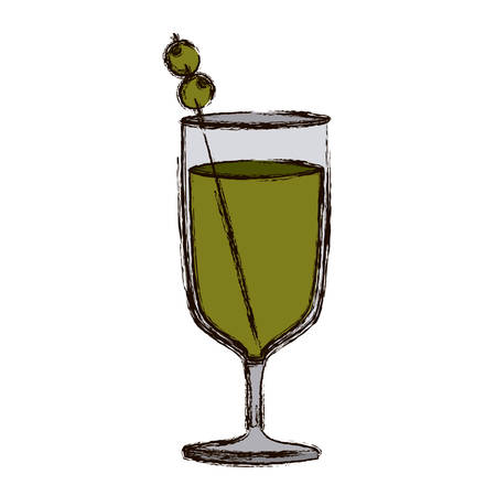 vermouth: color blurred silhouette of wine glass cocktail vector illustration