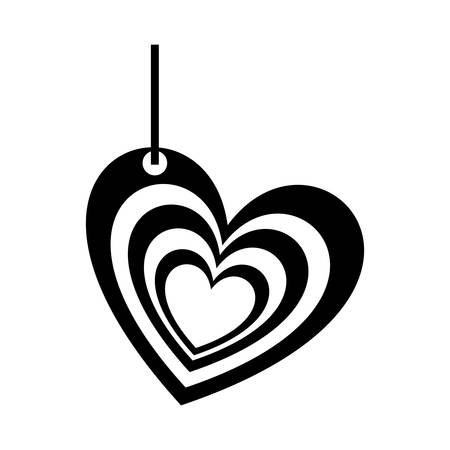 multiples: monochrome silhouette of multiples hearts pendant of thread vector illustration Illustration