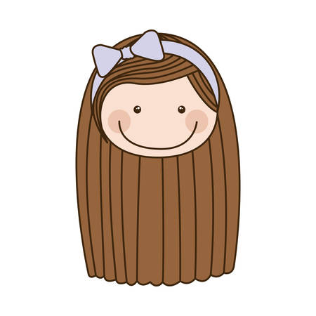 colorful caricature front face girl with brown long hair vector illustration
