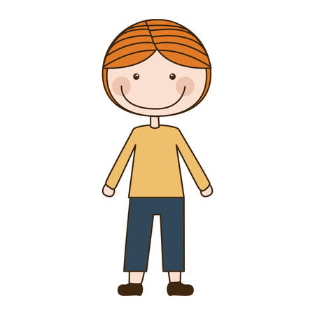colorful caricature blonded boy with coat and shorts vector illustration Illustration
