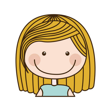 colorful caricature half body girl with short blond hair vector illustration