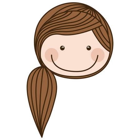 茶色のポニーテール髪ベクトル イラスト カラフル似顔絵正面顔女の子  イラスト・ベクター素材