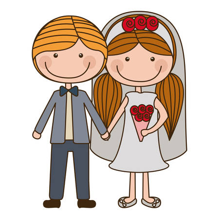 colorful caricature groom with formal suit and bride with pigtails hairstyle vector illustration